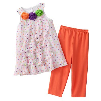 Sophie Rose Polka-Dot Ruffled Sundress and Leggings Set - Girls 4-6x