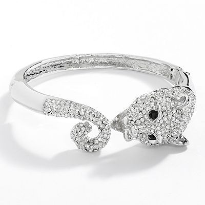 Jennifer Lopez Silver Tone Simulated Crystal Cat Bangle Bracelet