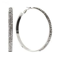 Jennifer Lopez Silver Tone Simulated Crystal Endless Hoop Earrings