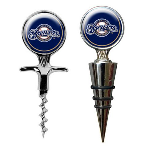 Milwaukee Brewers Cork Screw and Wine Bottle Topper Set