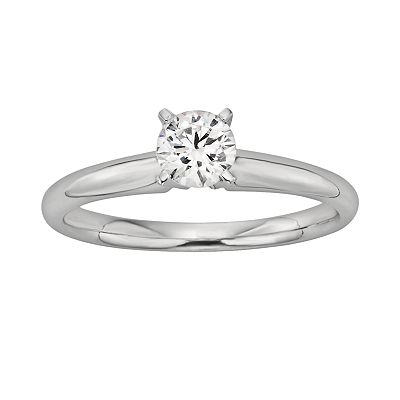 18k White Gold 1/2-ct. T.W. IGL Certified Colorless Round-Cut Diamond Solitaire Ring