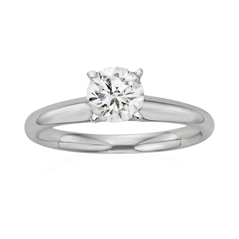 Round-Cut IGL Certified Colorless Diamond Solitaire Engagement Ring in 18k White Gold (3/4 ct. T.W.), Women's, Size: 7