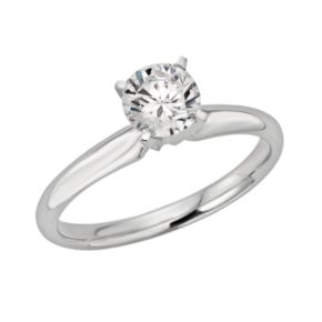 Round-Cut IGL Certified Colorless Diamond Solitaire Engagement Ring in 18k White Gold (3/4 ct. T.W.)