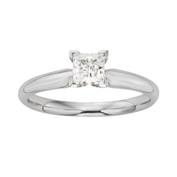 Princess-Cut IGL Certified Colorless Diamond Solitaire Engagement Ring in 18k White Gold (1/2 ct. T.W.)