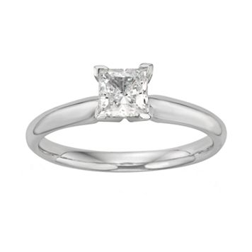 Princess-Cut IGL Certified Diamond Solitaire Engagement Ring in 18k White Gold (3/4 ct. T.W.)
