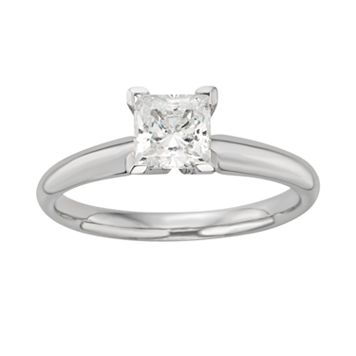Princess-Cut IGL Certified Colorless Diamond Solitaire Engagement Ring in 18k White Gold (1 ct. T.W.)