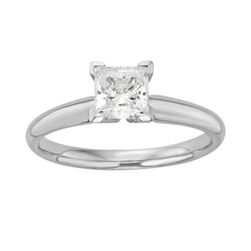 Princess-Cut IGL Certified Colorless Diamond Solitaire Engagement Ring in 18k White Gold (1 ct. T.W....