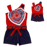 Dollie and Me Heart Asymmetrical Romper - Girls 4-6x
