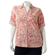 SONOMA life + style Floral Button-Tab Camp Shirt - Women's Plus