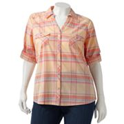 SONOMA life + style Plaid Button-Tab Camp Shirt - Women's Plus