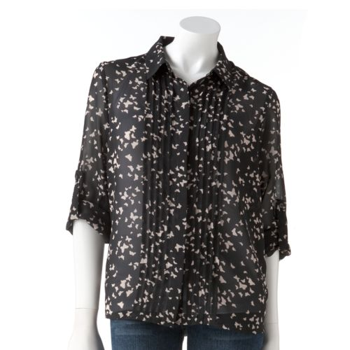 LC Lauren Conrad Butterfly Chiffon Blouse