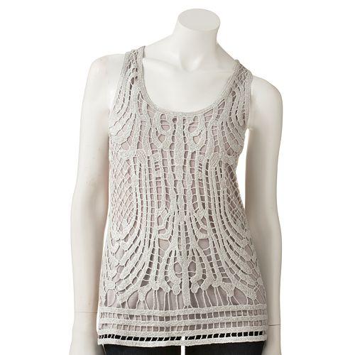 LC Lauren Conrad Lurex Crochet Overlay Tank