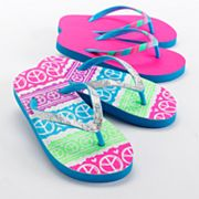 Jumping Beans 2-pk. Neon Peace Sign Flip-Flops - Girls