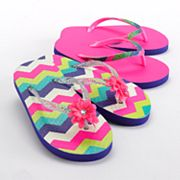 Jumping Beans 2-pk. Chevron Flip-Flops - Girls