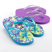 Jumping Beans 2-pk. Tropical Floral Flip-Flops - Girls
