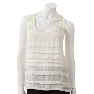 LC Lauren Conrad Tiered Mixed-Media Tank