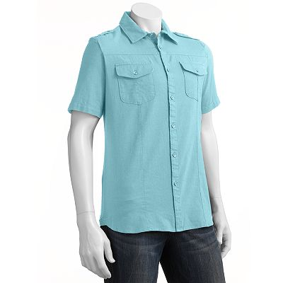 Apt. 9 Linen Woven Casual Button-Down Shirt