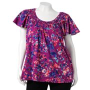 ELLE Floral Basket-Weave Top - Women's Plus