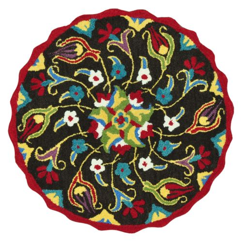 Loloi Azalea Scalloped Floral Rug – 3′ Round