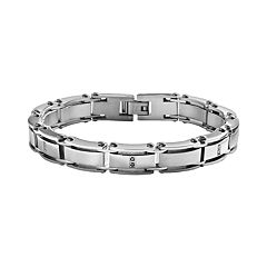 Stainless Steel 1/10 ctT.W. Black Diamond Bracelet - Men