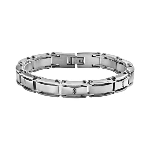 Stainless Steel 1/10-ct. T.W. Black Diamond Bracelet - Men