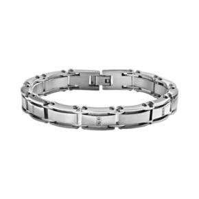 Stainless Steel 1/10-ct. T.W. Diamond Bracelet - Men