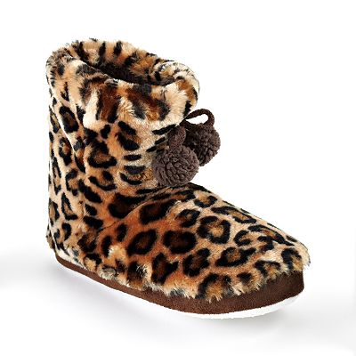 Pink Cookie Leopard Bootie Slippers - Girls