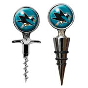 San Jose Sharks Cork Screw and Wine Bottle Topper Set