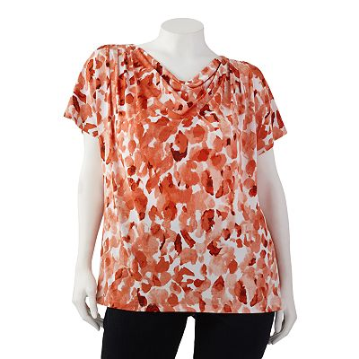 Dana Buchman Watercolor Drapeneck Top - Women's Plus