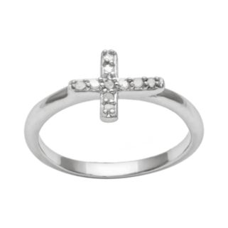 Silver Plated Crystal Sideways Cross Ring