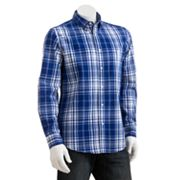 Chaps Custom-Fit Plaid Casual Button-Down Shirt