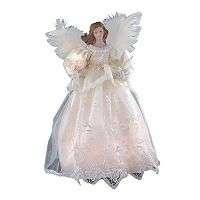 Kurt Adler Ivory Angel Pre-Lit Tree Topper