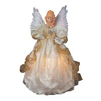Kurt Adler Ivory Angel Pre-Lit Animated Tree Topper