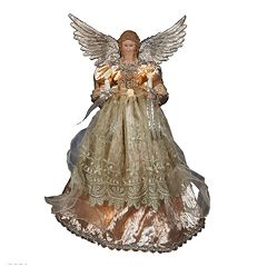 Kurt Adler Platinum Angel Pre-Lit Tree Topper