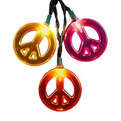 Kurt Adler Peace Sign String Light Set