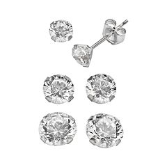Renaissance Collection 10k White Gold 3.5 ctT.W. Stud Earring Set - Made with Swarovski Zirconia