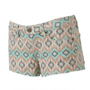 Mudd Geometric Frayed Shortie Shorts - Juniors