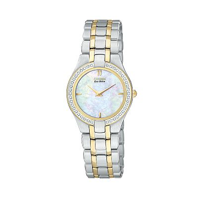 Citizen Eco-Drive Two Tone Stainless Steel Mother-of-Pearl and Diamond Accent Watch - EG3154-51D - Women