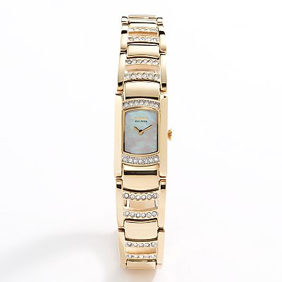 Citizen Eco-Drive Gold Tone Stainless Steel Mother-of-Pearl and Crystal Watch - Made with Swarovski Elements - EG2732-51D - Women