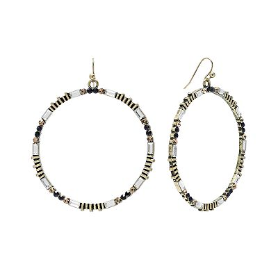 SONOMA life + style Gold Tone Simulated Crystal Hoop Drop Earrings