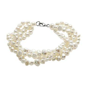 Sterling Silver Freshwater Cultured Pearl Multistrand Bracelet