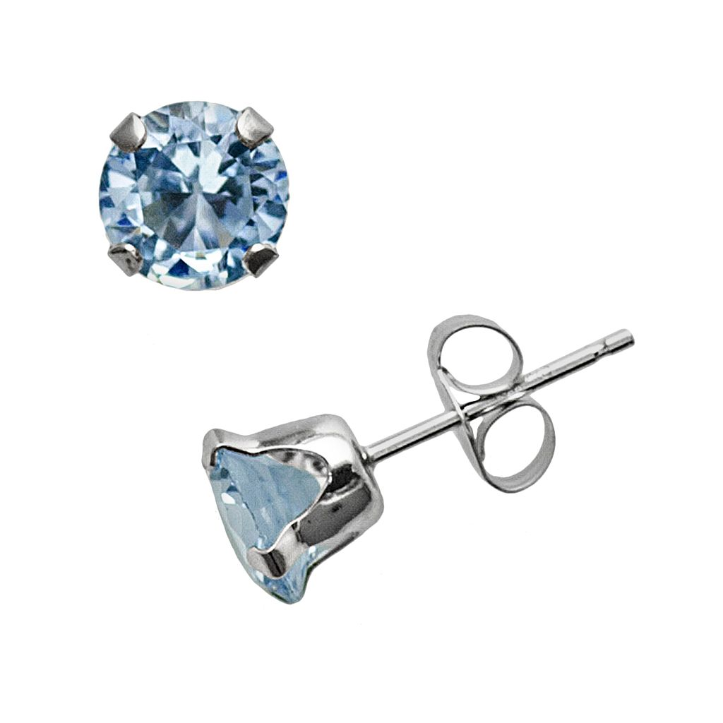 10k White Gold Lab-Created Aquamarine Stud Earrings