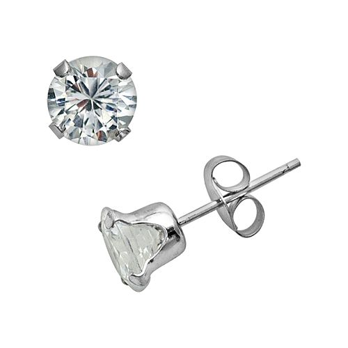 10k White Gold Lab-Created White Sapphire Stud Earrings