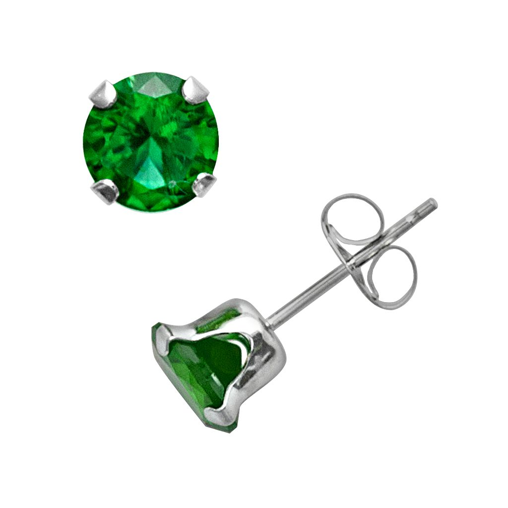 10k White Gold Lab-Created Emerald Stud Earrings
