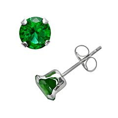 10k White Gold Lab-Created Emerald Stud Earrings