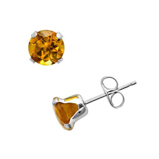 10k White Gold Citrine Stud Earrings