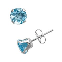 10k White Gold Blue Topaz Stud Earrings