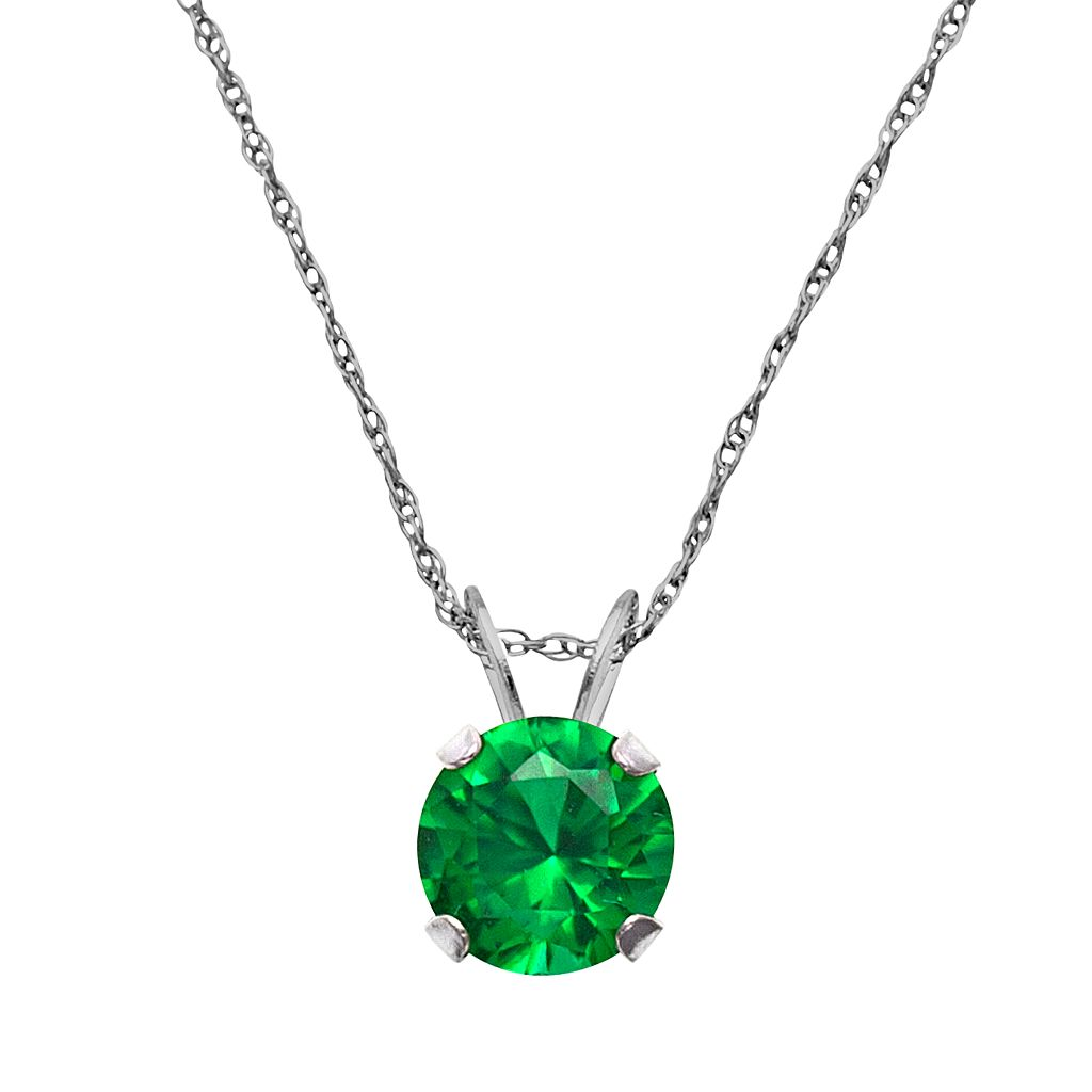 10k White Gold Lab-Created Emerald Pendant