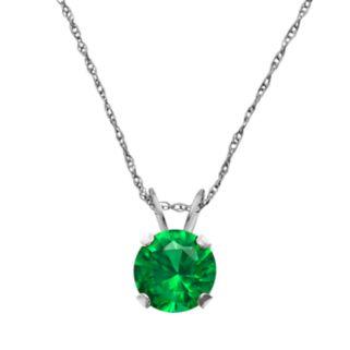 10k White Gold Lab-Created Emerald Pendant