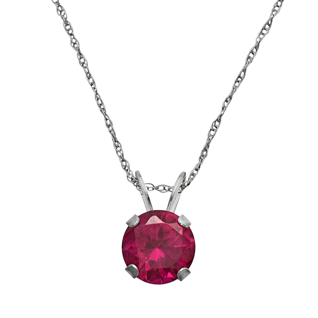 10k White Gold Lab-Created Ruby Pendant